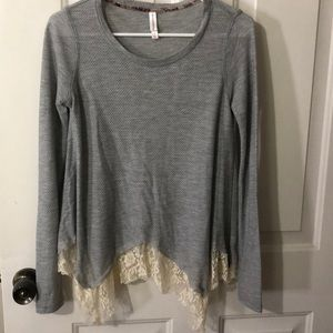 Light grey lace hem top
